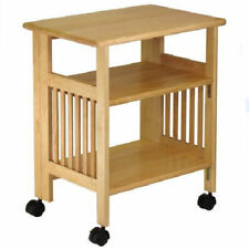 Foldable Kitchen Cart Office Mobile Rolling Wooden Book Storage Casters Natural