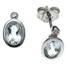 Ovale Aquamarin echten Edelsteinen Ohrschmuck mit Diamant