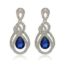 Top Shine Queen crystal rhinestone blue drop diamante women lady earring gift
