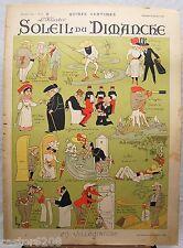 AFFICHE LEBEGUE 1899 CARICATURES VILLEGIATURE Illustré Soleil du Dimanche