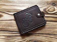 Genuine Fine Leather Minimalist Wallet Unisex Coin Pocket Man Brown Hand Tooled