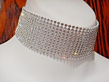 CLEAR CRYSTAL RHINESTONE COLLAR silver-tone wide vinyl choker necklace band 4A