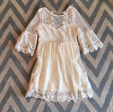 New ANTHROPOLOGIE Women's Lace Crochet Ivory Tie Back Wedding Party Dress Large