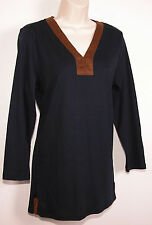 Ralph Lauren Womens Shirt Navy Blue V-Neck Knit Top M Medium Faux Suede Stretch