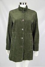 J Jill Womens Green Wide Wale Corduroy Velvet Trim Back Pleats Jacket Sz Medium