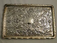 CHASED & ENGRAVED SANDWICH TRAY STERLING SILVER BIRMINGHAM 1887 VICTORIAN ANTIQU
