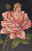 VINTAGE GERMAN EMBOSSED LOVELY YOUNG GIRL CHILD in a ROSE FLOWER POSTCARD
