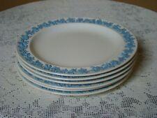 """6 Dinner Plates 10"""" Wedgwood Embossed Queensware Lav Blue on Cream Plain Edge"""