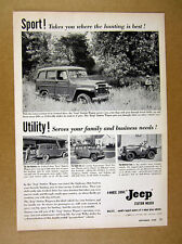1955 Jeep Station Wagon & Universal CJ 4x photo vintage print Ad