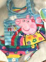 PEPPA PIG RAINBOW 1 PIECE SWIM SUIT SIZE 2T 3T 4T 5T NEW!