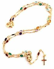 Gold Overlay Rosary Cross Pendant & Open Arms Charm Multicolored Stones Necklace