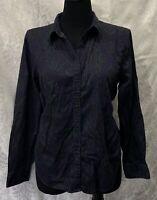 Womens Lauren Ralph Lauren Black Purple Paisley Button Up Long Sleeve Top Sz XL