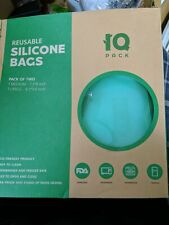 New listing Iqpack Reusable Silicone Food Storage/Lunch Teal Bags Lot Of 2 (1 Med & 1 Large)