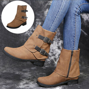 Women Winter Warm Motorcycle Buckle Boots Casual Pu Leather Flat Boots New Shoes