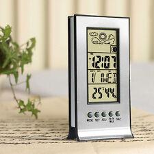 Uhr + Digital LCD Thermometer Innen Hygrometer Luftfeuchtigkeit Messgerät New