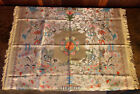 Vintage Chinese Silk Brocade Tablecloth Embroidery Brocaded Flowers Tapestry 38