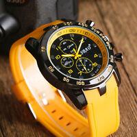 Mens Quartz Watches Fashion Multi-color Silicone Strap Military Sport Wristwatch