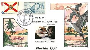 1991 Tallahassee Florida USA Duck Stamp Milford Hand Painted First Day Cover