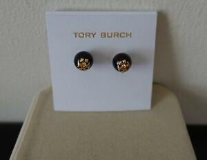 Tory Burch Logo Faux Pearl black stud earrings