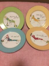 (4)  ROSANNA  SALAD PLATES--WOMAN'S WORK / OFFICE / WORTH IT  -FREE SHIP--VGC