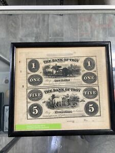 1859 The Bank Of Troy NY Uncut sheet of Two Notes  $1-$5