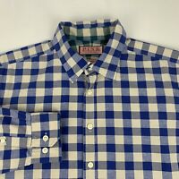 Thomas PINK Casual Button Front Shirt Men's Large Blue Checks Long Sleeve