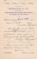 U.S. ROBINSON & CO. Manfs. Engines,Boilers Richmond, Ind. 1903 Invoice Ref 44503