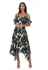 AX Paris Womens Leaf Print Frill Detail Maxi Dress Size 12 Strappy Summer