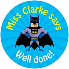 80 Personalised Teacher Reward Stickers for Pupils Blue Batman Gotham