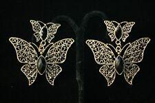 Ladies / women's jewelry / Black Bead  Butterfly Dangle / Drop Earrings