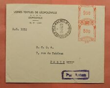 DR WHO 1958 BELGIAN CONGO METER LEOPOLDVILLE AIRMAIL TO FRANCE 170366