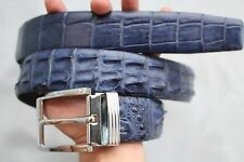 Without Jointed - Blue Genuine CROCODILE LEATHER Skin Men's Belt -W 1.5 inch