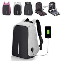 Sac à dos Backpack USB Charge Bandoulière Laptop École Voyage Antivol portable
