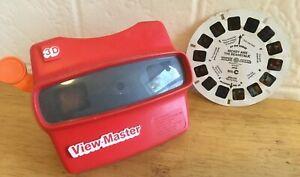 Vintage Viewmaster 3-D Red Viewer Viewmaster International + 1 Disney Reel
