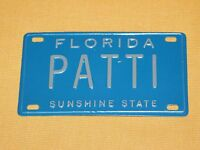 "VINTAGE 4"" X 2 1/4"" METAL PATTI FLORIDA SUNSHINE STATE  MINI LICENSE PLATE"
