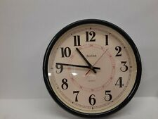 "Vintage Bulova Wall Clock with Plastic Frame, 12 1/2"" Diameter, Working, C4563"