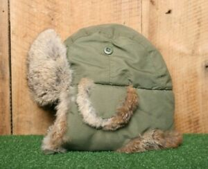 CROWN CAP Army Olive Green Rabbit Fut Lined Trapper Aviator Winter Hat Sz. L