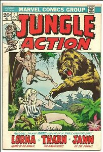 Jungle Action #1 (Oct. 1972) FN+ 6.5 w/ off-white pgs. Nice mid grade copy.