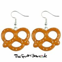 TFB - PRETZEL DANGLE EARRINGS Funky Quirky American Snack Food Kitsch Retro Cool