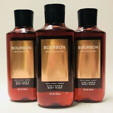 3 Bath & Body Works Bourbon For Men 2 in 1 Hair & Body Wash Shower Gel 10 fl.oz