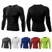 Mens Quick Dry Compression Under Base Layer T-shirt Long Sleeve Gym Sports Tops