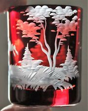 Vintage Bohemian Ruby Red Cut To Clear Shot Glass Rabbit Leaping Forest Scene