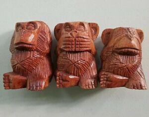 Three Wise Monkeys Carved Wood Mid Century Tiki