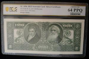 $2.00 1896 - Reverse Side-Intaglio Silver Certificate-PCGS Choice UNC 64 PPQ