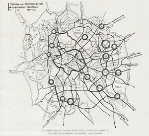 E0123 Rome - Knitting Communications With Getti Periferici - 1932 Map