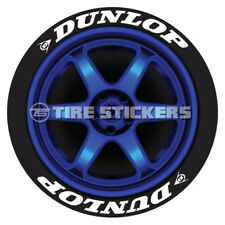 """DUNLOP TIRE STICKERS - 1.25"""" For 14"""" 15"""" 16"""" Wheels (8 Decals) - White"""