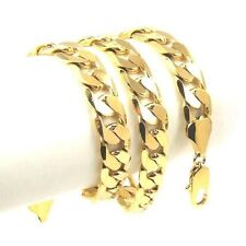 """24K Yellow Gold Filled Mens Necklace Solid Cuban Curb Chain Jewelry 23.6"""" 10mm"""