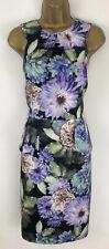 Coast Dress Green Purple Ladies Floral Bodycon Peplum Sleeveless Size 12 New