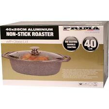 40CM ROASTER DISH WITH GLASS LID CASSEROLE ROASTING BAKING COOKING KITCHEN NEW