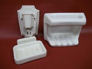 Vintage Porcelain Bathroom Shower Soap Dish x2 & Light Fixture